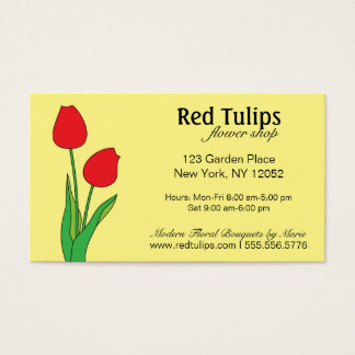Red Tulips Flower Shop Business Card