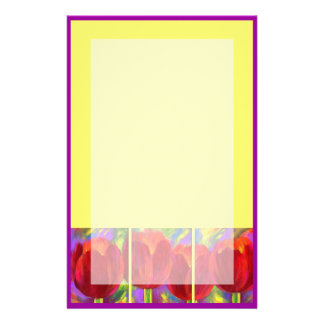 Red Tulips Flowers Painting Stationary Custom Stationery