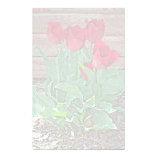 Red Tulips Flowers Petals Bloom by SD Kelley Stationery Paper