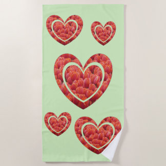 Red Tulips Hearts Cust. Backgr. Color Beach Towel