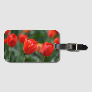 Red Tulips in the Garden Luggage Tag