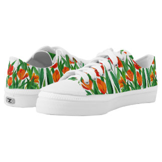 Red Tulips Low-Top Sneakers