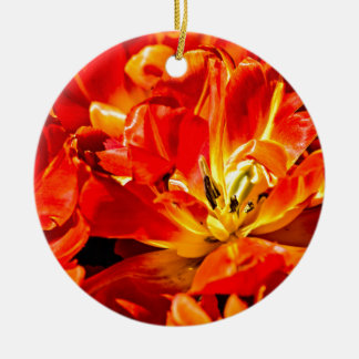 Red Tulips Macro Ceramic Ornament