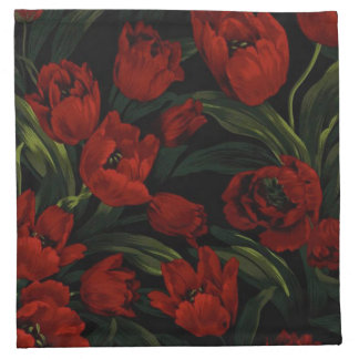 Red Tulips on Black Napkin
