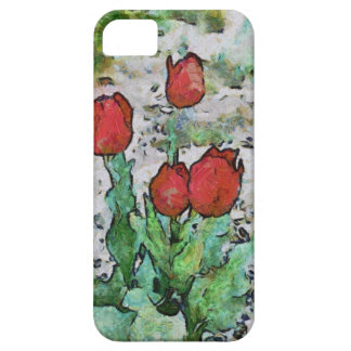 Red tulips painting iPhone 5 cases