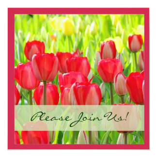Red Tulips Party Invitation