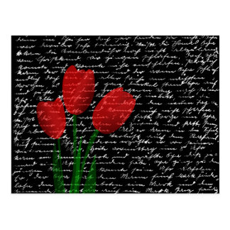 Red tulips postcard