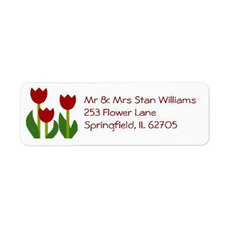 Red Tulips return address label