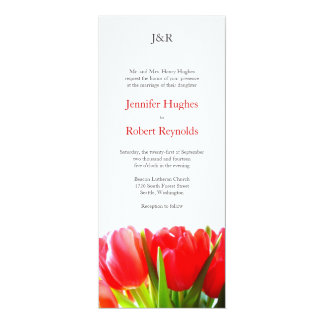 "Red Tulips Wedding Invitation 4"" X 9.25"" Invitation Card"