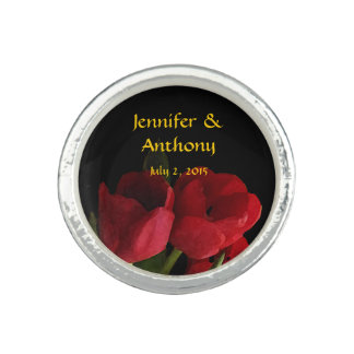 Red Tulips Wedding Photo Rings