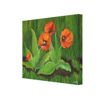 Red Tulips wrapped canvas