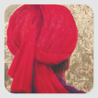 Red Turban on Gold Leaf 2014 Square Sticker