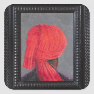 Red Turban on Grey 2014 (Framed) Square Sticker