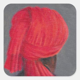 Red Turban on Grey 2014 Square Sticker