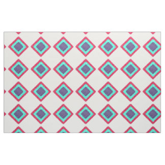 Red, turquoise and purple geometrical fabric