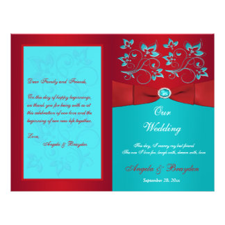 Red, Turquoise Floral Wedding Program