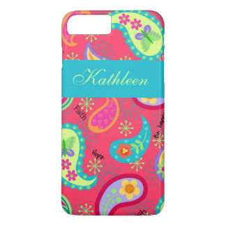 Red Turquoise Modern Paisley Name Personalized iPhone 8 Plus/7 Plus Case
