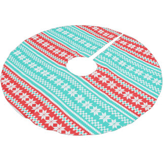 Red Turquoise Norwegian Christmas Sweater Pattern Brushed Polyester Tree Skirt
