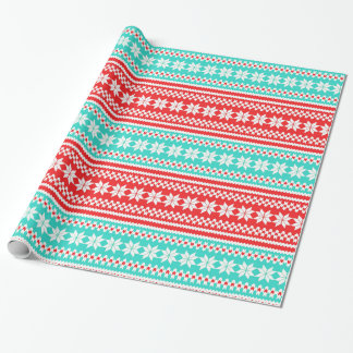 Red Turquoise Norwegian Christmas Sweater Pattern Wrapping Paper
