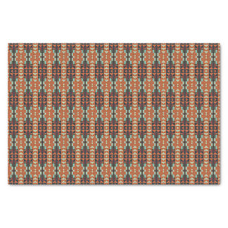 Red Turquoise Orange Rustic Cabin Mosaic Pattern Tissue Paper