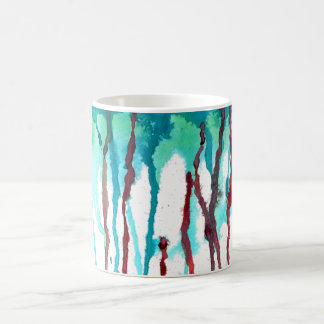 Red & Turquoise Watercolor Drips Coffee Mug
