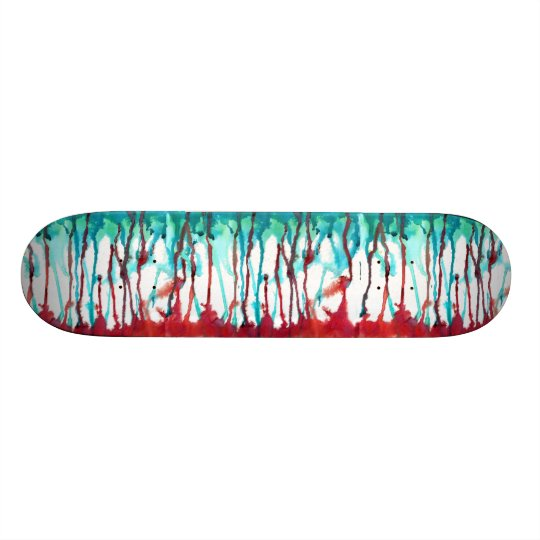 Red & Turquoise Watercolor Drips Custom Skate Board