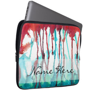 Red & Turquoise Watercolor Drips Laptop Sleeve