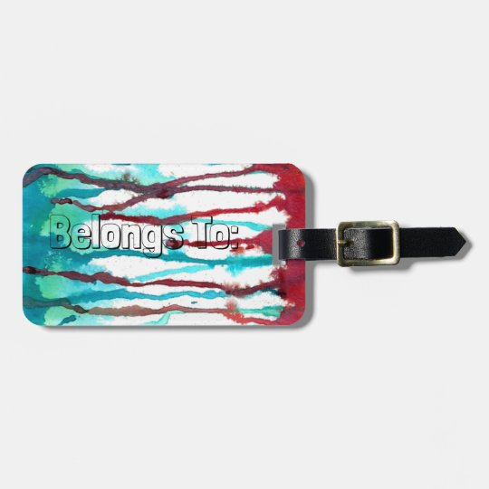 Red & Turquoise Watercolor Drips Luggage Tag