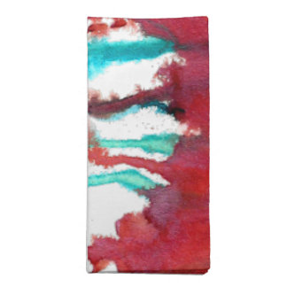 Red & Turquoise Watercolor Drips Napkin