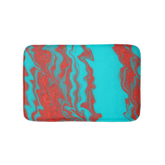 Red Turquoise Wavy Lines Bath Mat