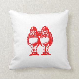 Red Tweedle Dee & Tweedle Dum Throw Pillow