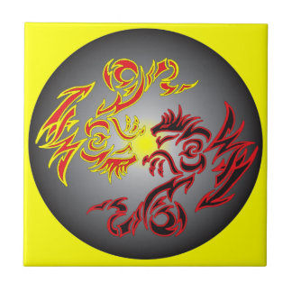red twin moon dragon tile