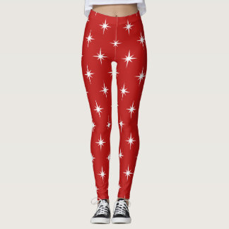 red twinkles sparkles all over printed leggings