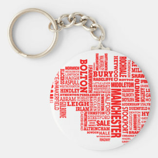Red type map of Greater Manchester Keychain