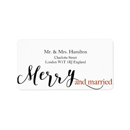 """Red Typography """"merry and married"""" Christmas"""