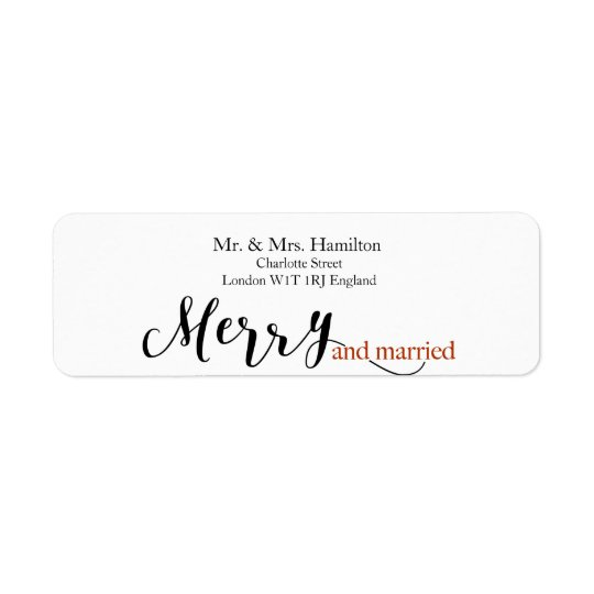 """Red Typography """"merry and married"""" Christmas Return Address Label"""