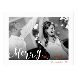"Red Typography ""merry and married"" photo Postcard"