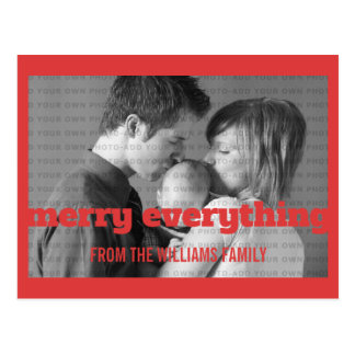 Red Typography Merry Everything Photo Postcard