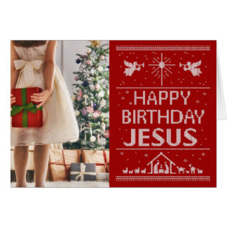 Red Ugly Christmas Sweater Happy Birthday Jesus Card