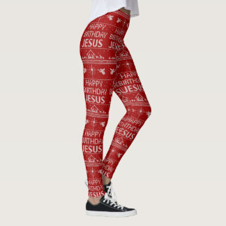 Red Ugly Christmas Sweater Happy Birthday Jesus Leggings