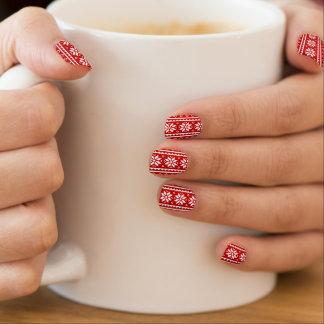 Red Ugly Christmas Sweater nail enhancements Minx Nail Art