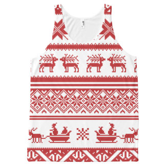 Red Ugly Christmas Sweater Patterns All-Over-Print Tank Top