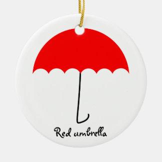 Red umbrella ceramic ornament