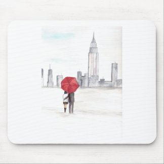 Red umbrella couple New York cool trendy beautiful Mouse Pad