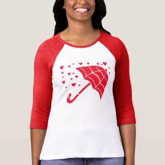 Red Umbrella Hearts Ladies Raglan T-Shirt