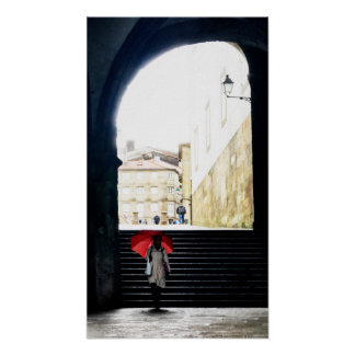 Red Umbrella in a Spanish arch 2 Poster