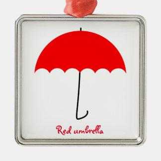 Red umbrella metal ornament