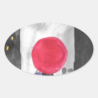 Red Umbrella Oval Sticker