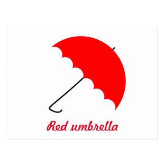 Red umbrella postcard