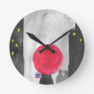 Red Umbrella Round Clock